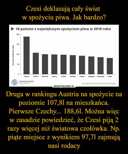 Czesi deklasują cały świat  w spożyciu piwa. Jak bardzo? Druga w rankingu Austria na spożycie na poziomie 107,8l na mieszkańca. Pierwsze Czechy... 188,6l. Można więc w zasadzie powiedzieć, że Czesi piją 2 razy więcej niż światowa czołówka. Np. piąte miejsce z wynikiem 97,7l zajmują nasi rodacy