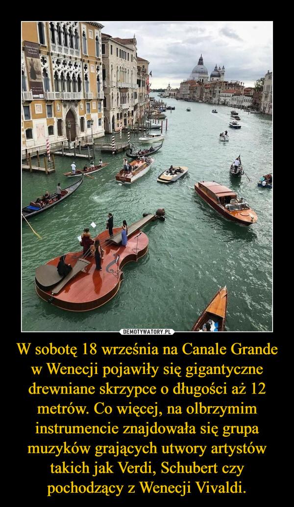 W sobotę 18 września na Canale Grande w Wenecji pojawiły się gigantyczne drewniane skrzypce o długości aż 12 metrów. Co więcej, na olbrzymim instrumencie znajdowała się grupa muzyków grających utwory artystów takich jak Verdi, Schubert czy pochodzący z Wenecji Vivaldi. –